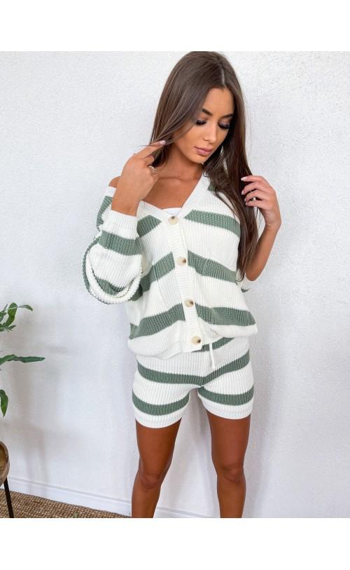 Komplet swetrowy w paski z szortami oliwkowy 1040