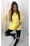 Bluza z tasiemkami z nadrukiem 2103_Żółta