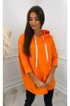 Bluza z tasiemkami z nadrukiem 2103_Pomarańczowa