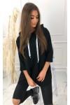 Bluza z tasiemkami z nadrukiem 2103_czarna
