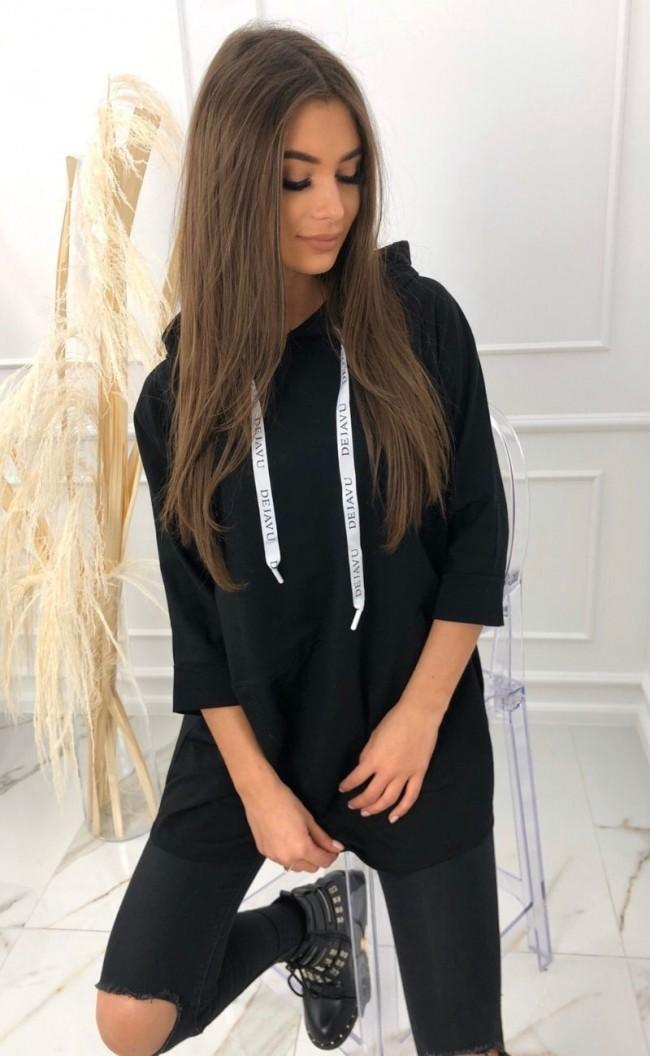 Bluza z tasiemkami z nadrukiem 2103_czarny