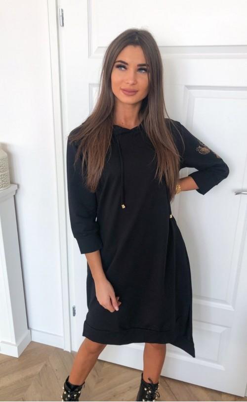 Sukienka z sową i kapturem TI 733_czarna
