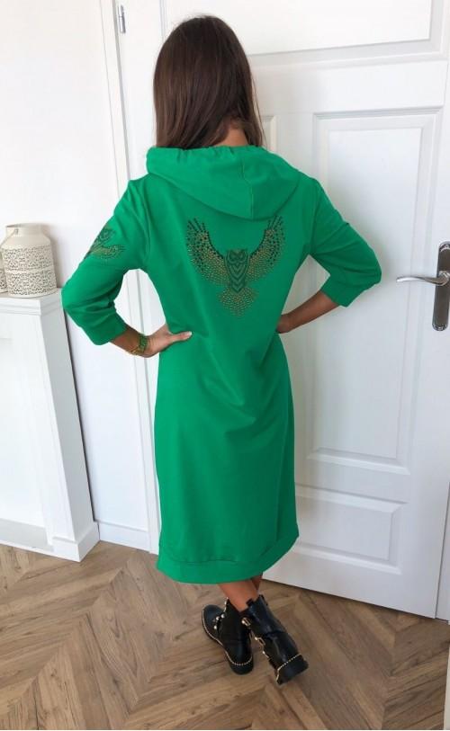 Sukienka z sową i kapturem TI 733_zielona