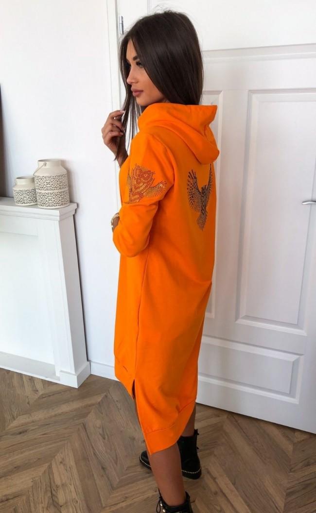 Sukienka z sową i kapturem TI 733_pomarańczowa