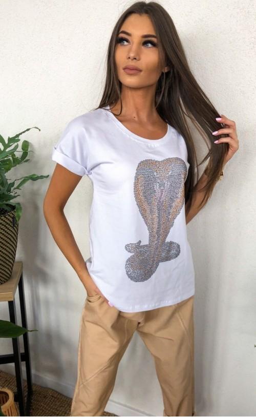 T-Shirt biały z kobrą TK 693
