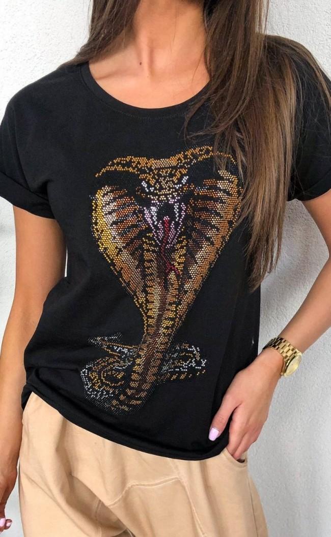 T-Shirt czarny z kobrą TK 693