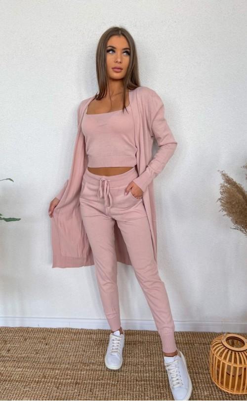 Komplet sweterkowy trzyczęściowy 011 różowy