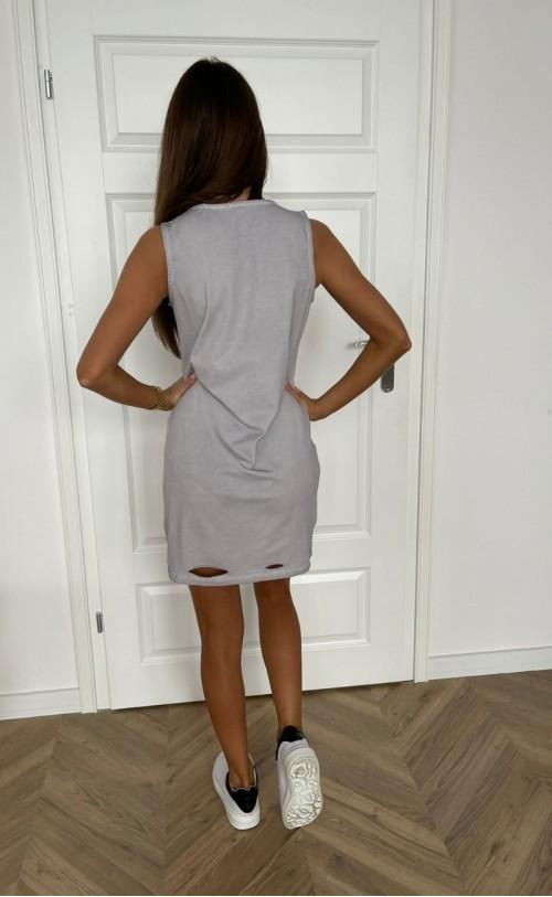 Sukienka dekatyzowana z przecięciami szara TK 719