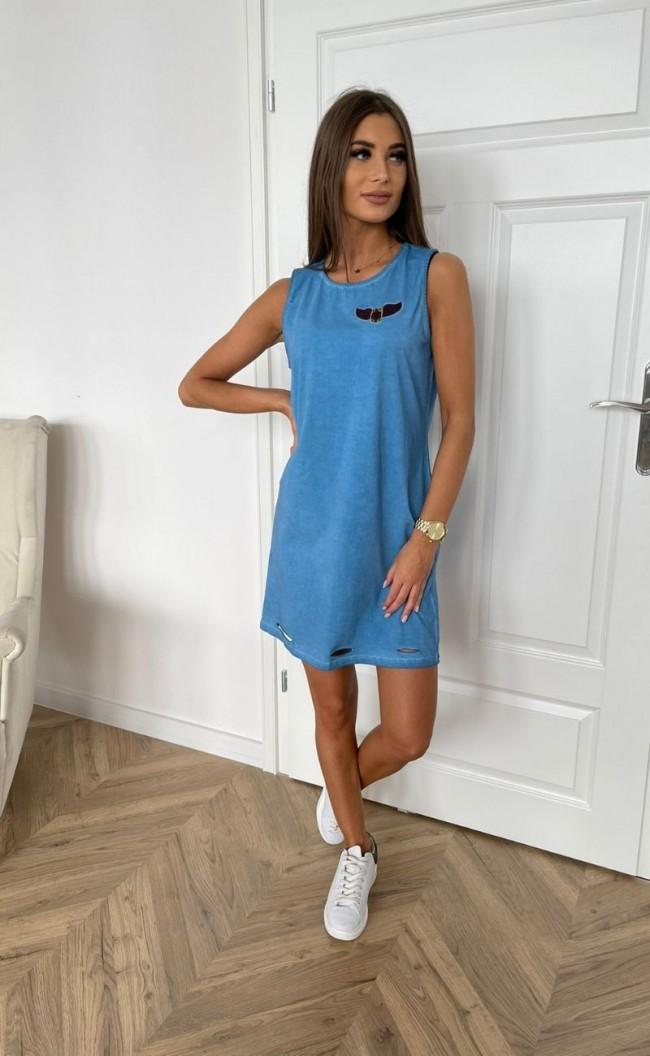 Sukienka dekatyzowana z przecięciami niebieska TK 719