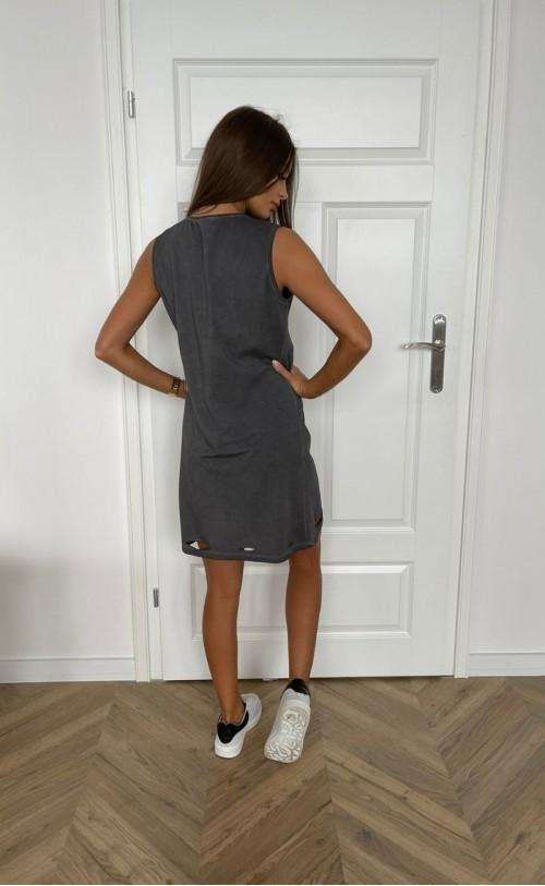 Sukienka dekatyzowana z przecięciami grafitowa TK 719