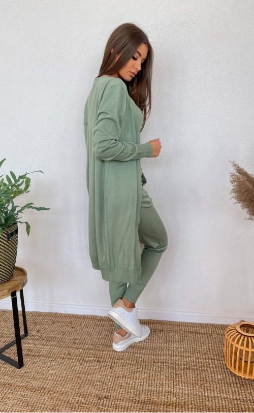 Komplet sweterkowy trzyczęściowy 011 zielony