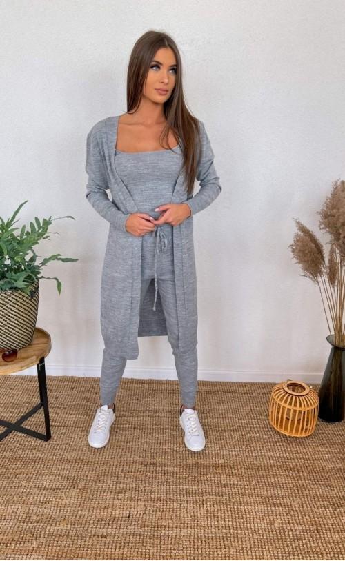 Komplet sweterkowy trzyczęściowy 011 szary