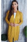 Sweter ażurowe romby żółty 915