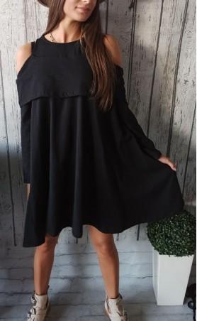 Oversize tunika gołe ramiona czarna TK 624