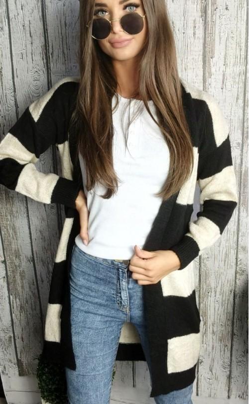 Sweter kardigan pasy czarny 860