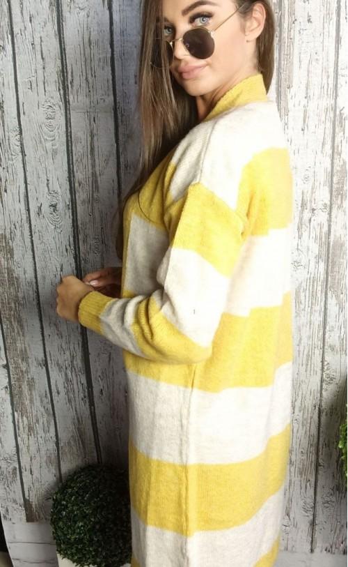 Sweter kardigan pasy żólty 860