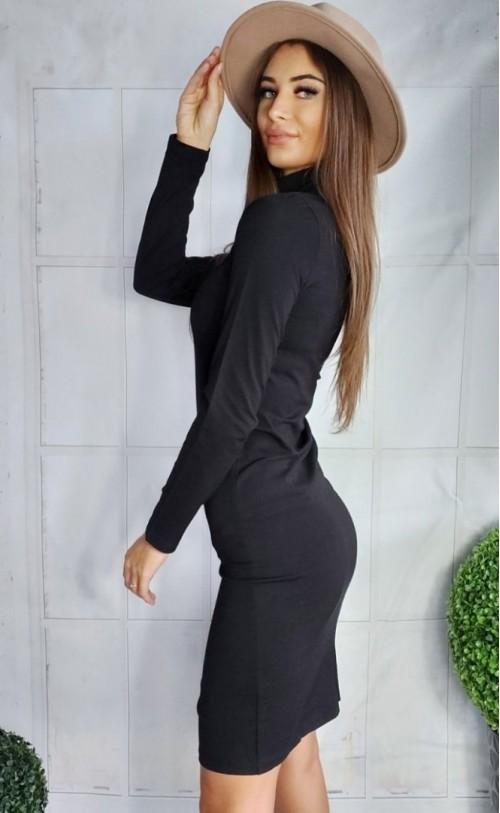Sukienka z golfikiem i rozcięciem czarna TK 630