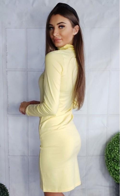 Sukienka z golfikiem i rozcięciem żółta TK 630