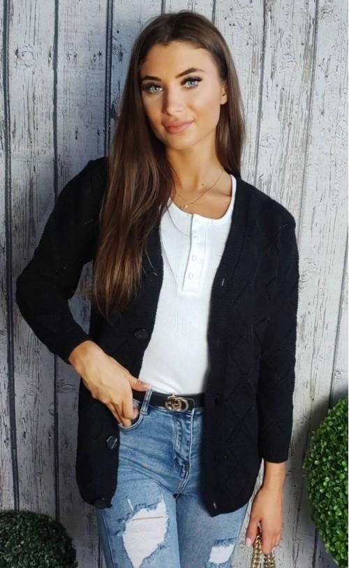 Sweter na guziki czarny 895
