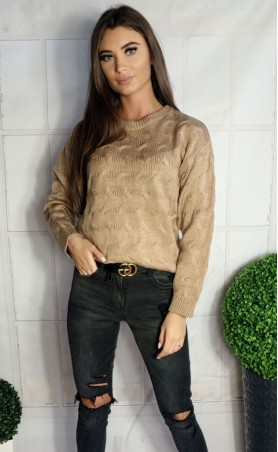 Ciepły sweter w fale beżowy 940