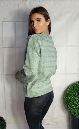 Ciepły sweter w fale miętowy 940