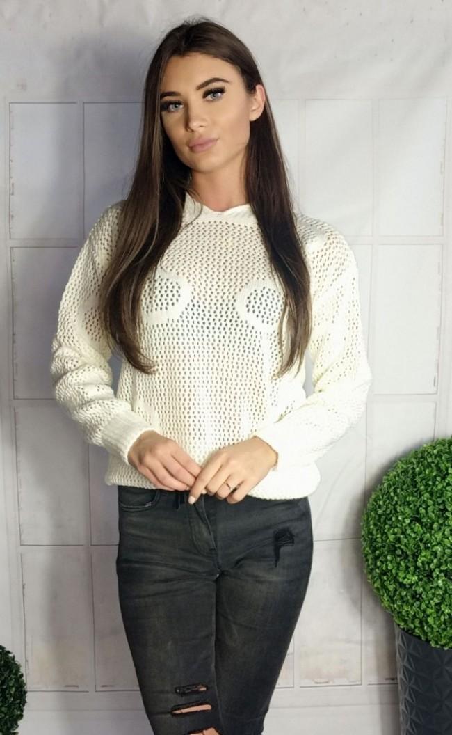 Ażurowy sweterek w koła biały 885