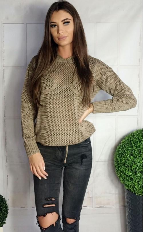 Ażurowy sweterek w koła beżowy 885