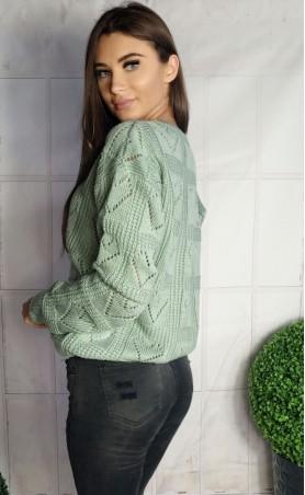 Sweter ażurowe serca miętowy 935