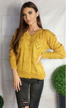 Sweter ażurowe serca musztardowy 935
