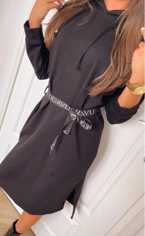 Sukienka z kapturem i paskiem TI 852 Czarna