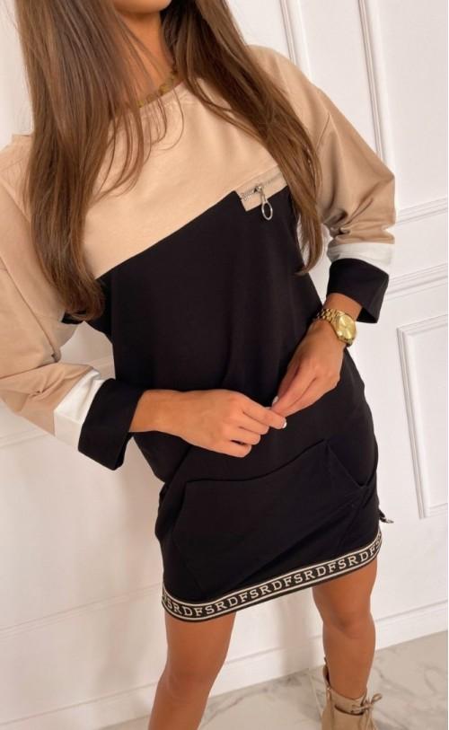 Sukienka/Tunika z zamkiem TI 873 Czarna z Beżem