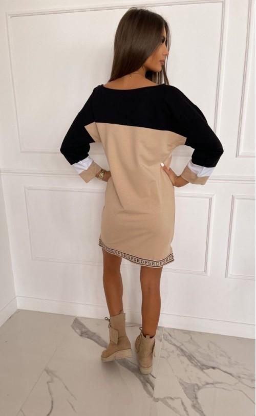 Sukienka/Tunika z zamkiem TI 873 Beżowo czarna