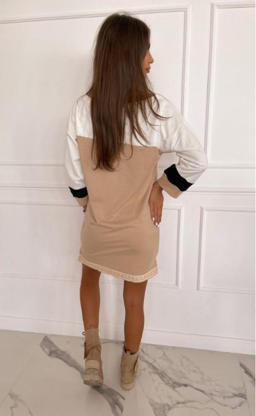Sukienka/Tunika z zamkiem TI 873 kremowo beżowa