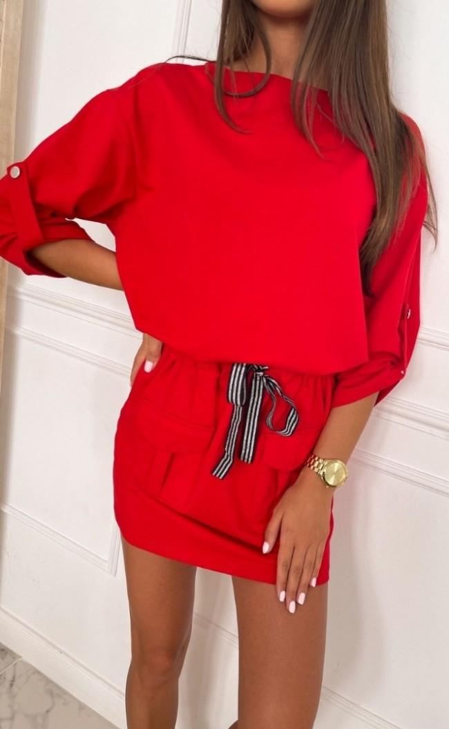Sukienka militarna TI 861 Czerwona