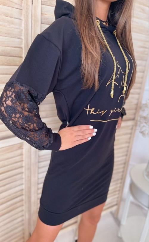 Sukienka złoty nadruk TI 845 Czarna
