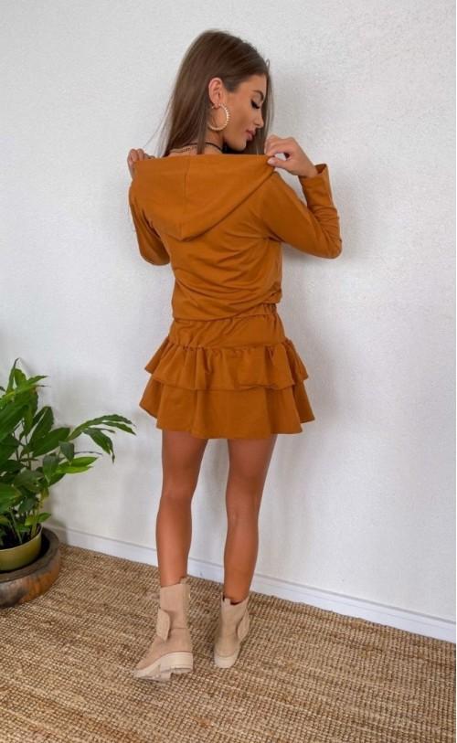 Sukienka falbanki TI 842 Camel