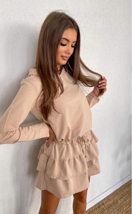 Sukienka falbanki TI 842 Beżowa